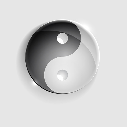 Yin Yang glass sign. Black and white. Isolated on gray background. Vector illustration