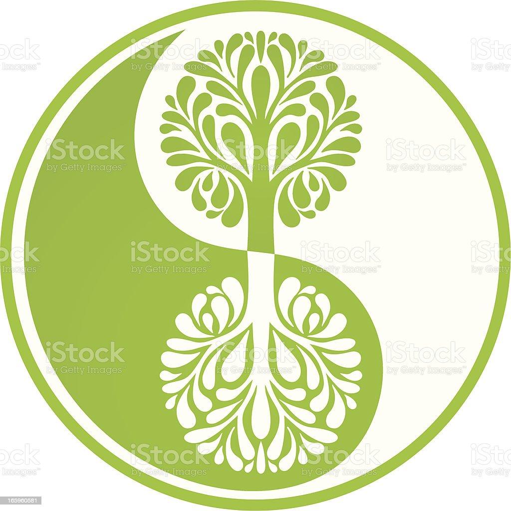Yin Yang green tree vector art illustration