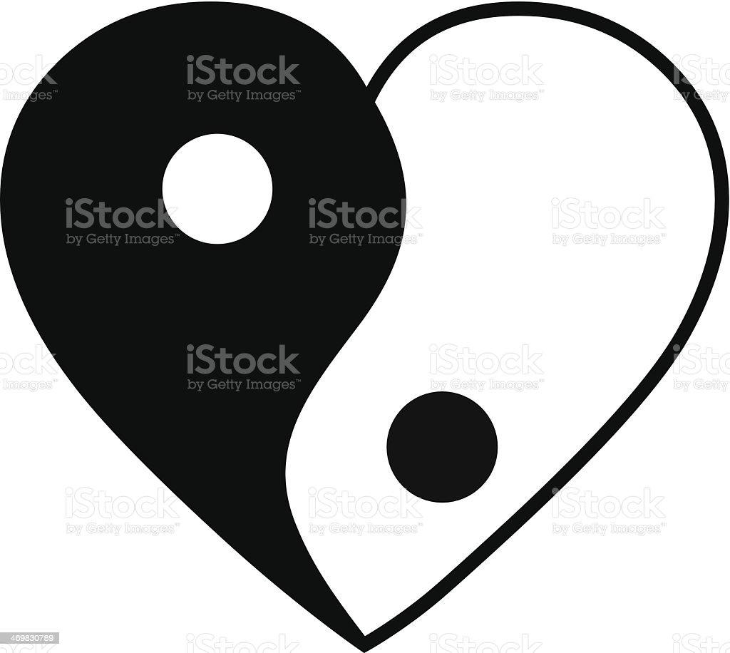 Yin yang heart royalty-free stock vector art