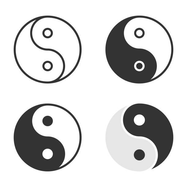 Yin Yang Icon Set Vector Design. Scalable to any size. Vector Illustration EPS 10 File. yin yang symbol stock illustrations