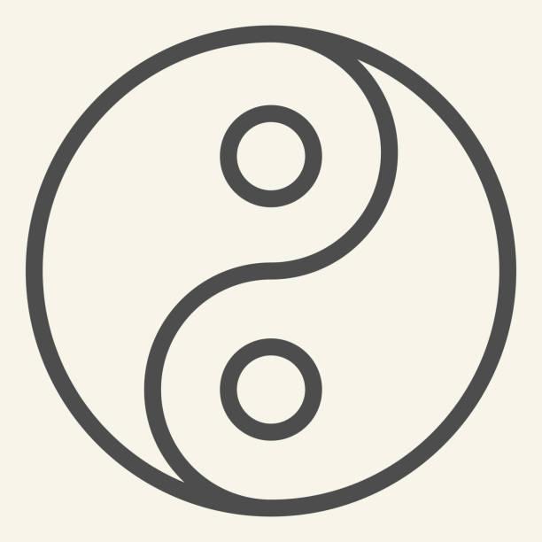 ilustraciones, imágenes clip art, dibujos animados e iconos de stock de icono de línea yin yang. símbolo de armonía y equilibrio, pictograma de estilo de contorno sobre fondo beige. firma de filosofía budista yin-yang para el concepto móvil y el diseño web. gráficos vectoriales. - yin yang symbol