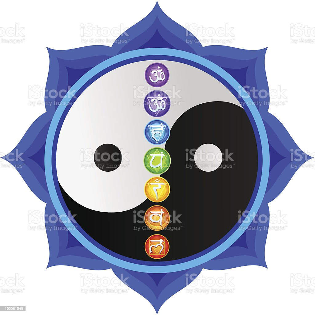 Yin Yang Mandala with Chakras royalty-free stock vector art
