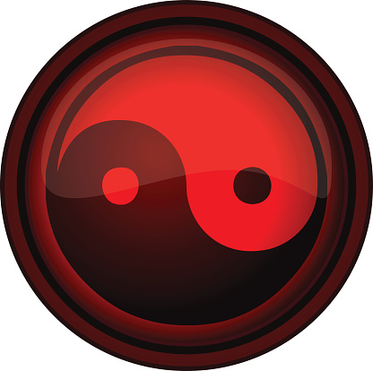 Yin Yang round Red Sign.