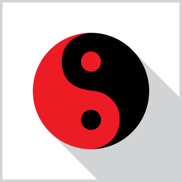 Yin Yang Shadow Icon Vector illustration of a red and black yin yang with a shadow on a white background with a gray border. yin yang symbol stock illustrations