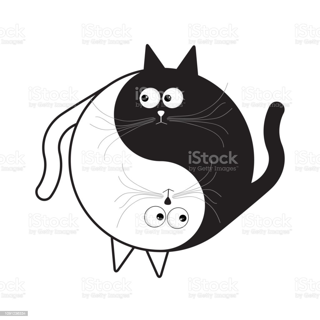 Yin Yang sign icon. White and black cute funny cartoon cat. Feng shui symbol. Isolated Flat design style vector art illustration