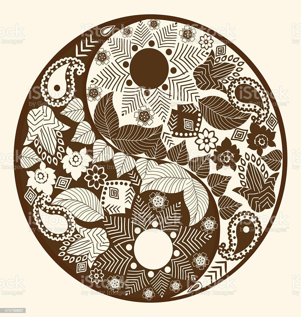 Yin yang symbol, asian decoration element vector art illustration