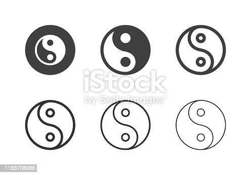 Yin Yang Symbol Icons Multi Series Vector EPS File.