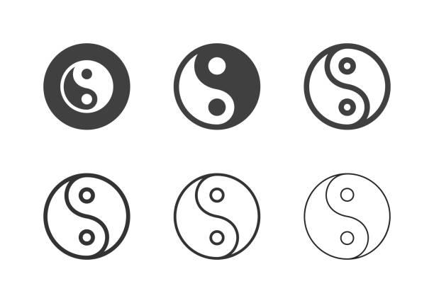 ilustraciones, imágenes clip art, dibujos animados e iconos de stock de iconos de símbolos yin yang - multi series - yin yang symbol