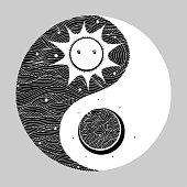 yin yang symbol minimal vector hand drawn style illustration design
