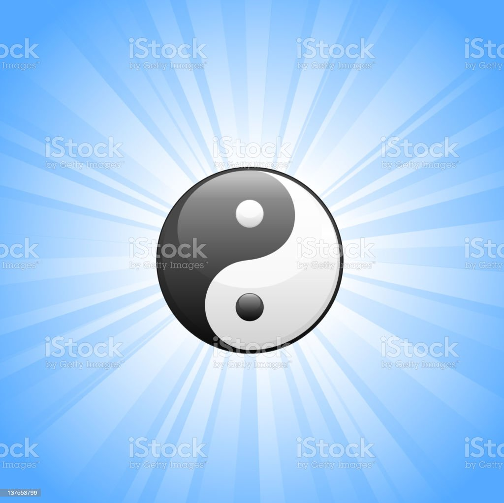 Yin Yang Symbol on glowing blue Background royalty-free stock vector art