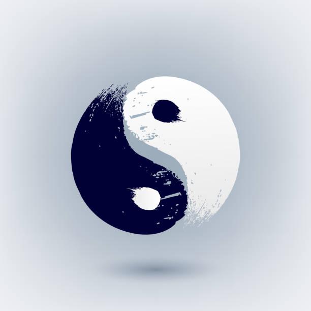 Yin Yang symbol painted with brush strokes Yin Yang symbol painted with brush strokes vector illustration. Hand drawn scribble design. yin yang symbol stock illustrations