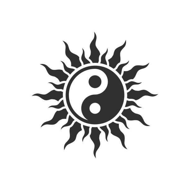 ilustraciones, imágenes clip art, dibujos animados e iconos de stock de símbolo yin-yang - tatuajes del sol