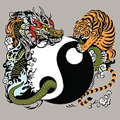 yin yang symbol with dragon and tiger fight