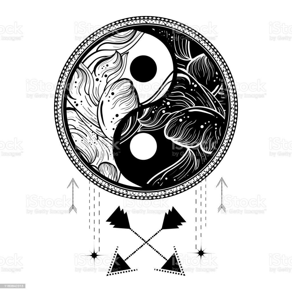 Yin Yang Tattoo Art Style Bohemian Logo Badge Sign With