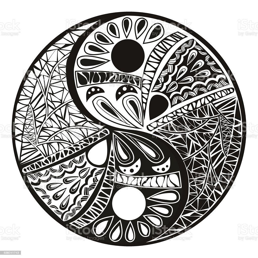 Yin Yang Symbol Tatuaż Dla Projektowania Ilustracja Wektorowa