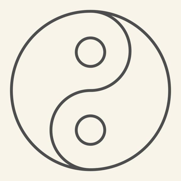 ilustraciones, imágenes clip art, dibujos animados e iconos de stock de icono de línea delgada yin yang. símbolo de armonía y equilibrio, pictograma de estilo de contorno sobre fondo beige. firma de filosofía budista yin-yang para el concepto móvil y el diseño web. gráficos vectoriales. - yin yang symbol