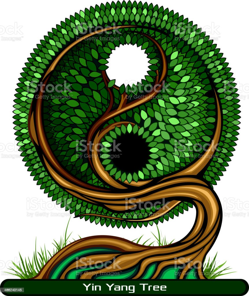 Yin Yang Tree vector art illustration
