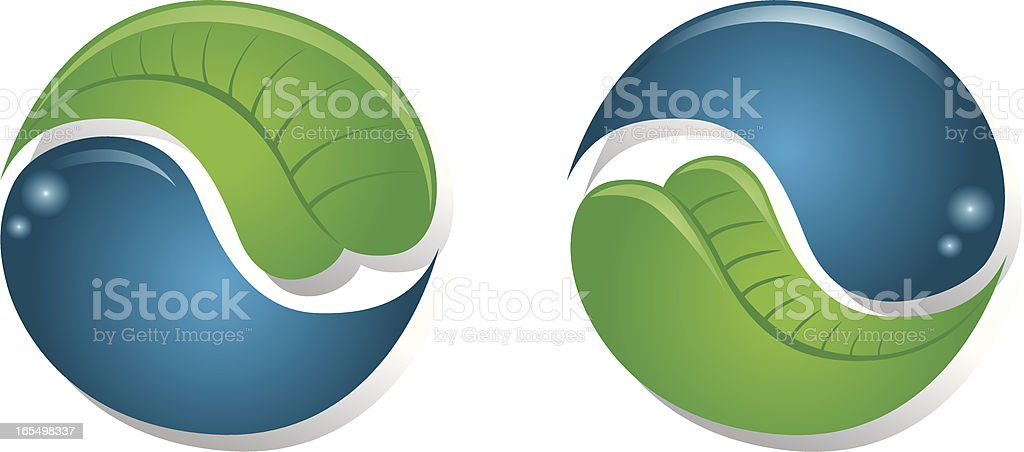 Yin Yang Water and Leaf royalty-free stock vector art