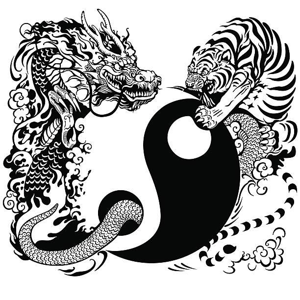 陰陽にドラゴンとタイガーの戦い - 動物のタトゥー点のイラスト素材/クリップアート素材/マンガ素材/アイコン素材