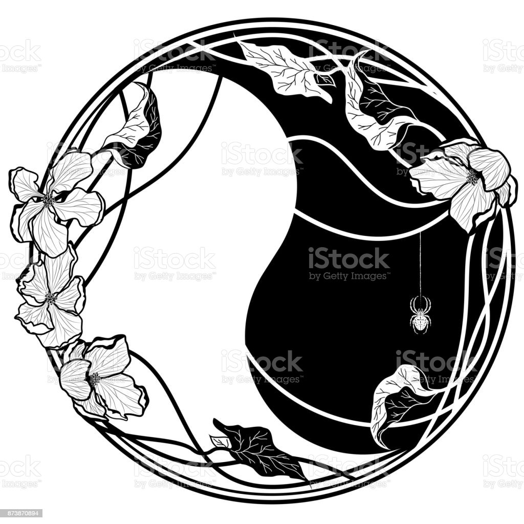 flores de manzana de Yin yang witn ilustración de flores de manzana de yin yang witn y más vectores libres de derechos de abstracto libre de derechos