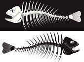 Ying yang black and white fish bones