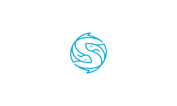 ilustraciones, imágenes clip art, dibujos animados e iconos de stock de vector de icono de ying yang pescado insignia - yin yang symbol