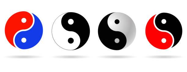 Ying yang icon set Ying yang icon set . balance asian symbols yin yang symbol stock illustrations