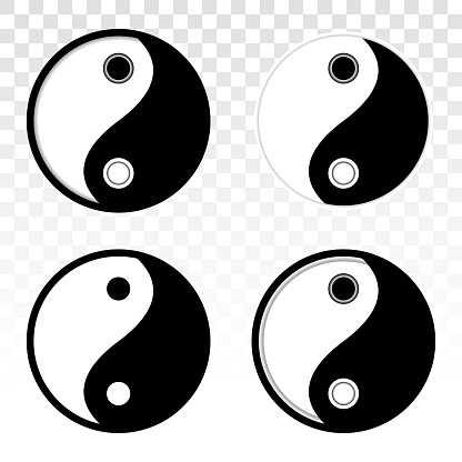 Ying yang or Yin yang balance vector flat icon for apps or website on a transparent background