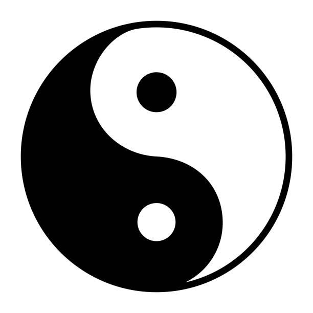 ilustraciones, imágenes clip art, dibujos animados e iconos de stock de símbolo de ying yang de armonía y equilibrio - yin yang symbol