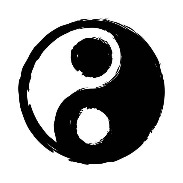 ilustraciones, imágenes clip art, dibujos animados e iconos de stock de ying yang icono - yin yang symbol