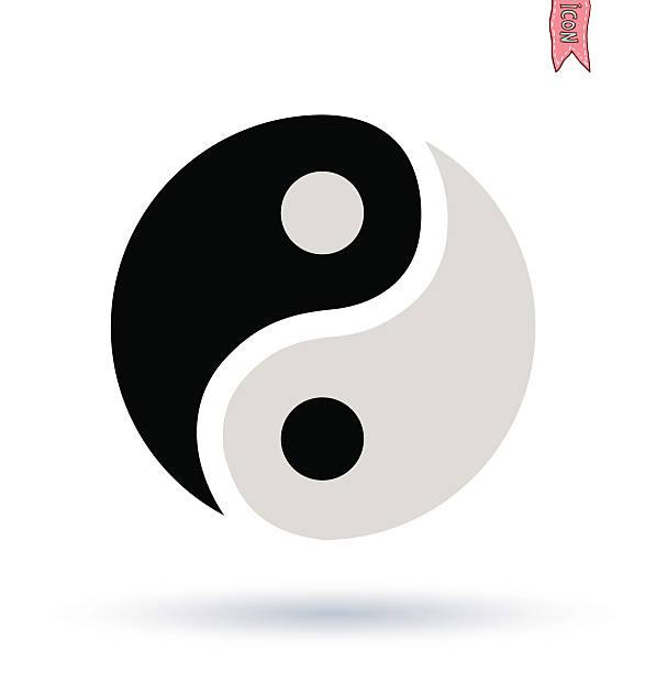 ilustraciones, imágenes clip art, dibujos animados e iconos de stock de símbolo de ying yang de vector silueta - yin yang symbol