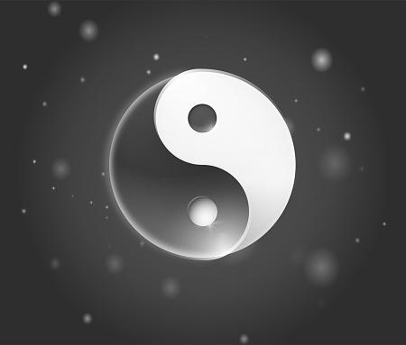 Ying yang symbol. Yin yan karma icon. Yinyang tao balance logo. Zen harmony background. Buddha mandala sign. Yoga peace spiritual  design. Asian meditation art element
