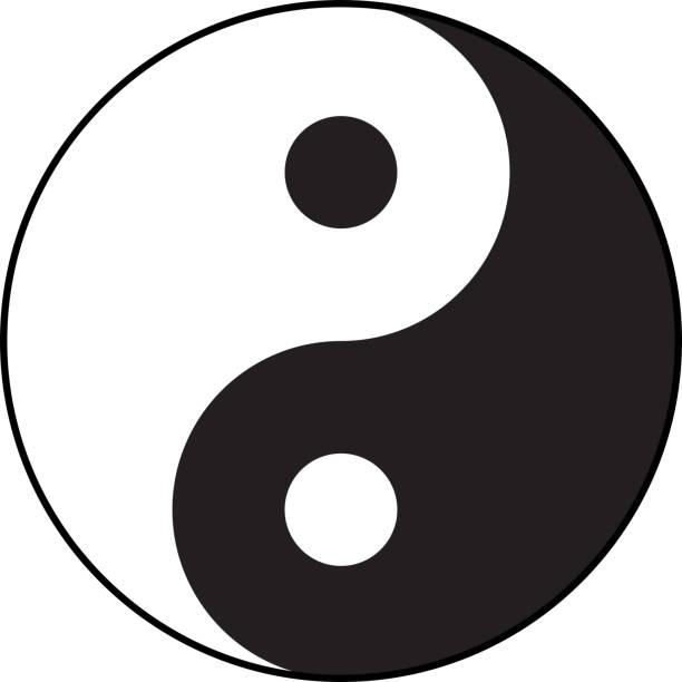 Ying-yang symbol of harmony and balance. Flat style. Ying-yang symbol of harmony and balance. Flat style. yin yang symbol stock illustrations