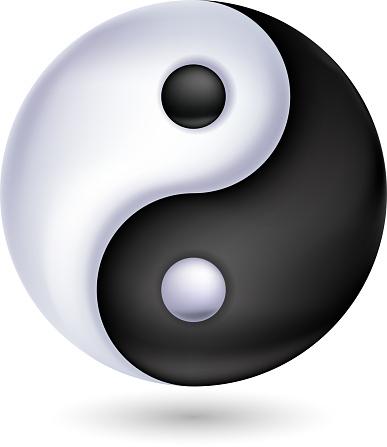 Ying-yang symbol of harmony and balance. Glossy style.