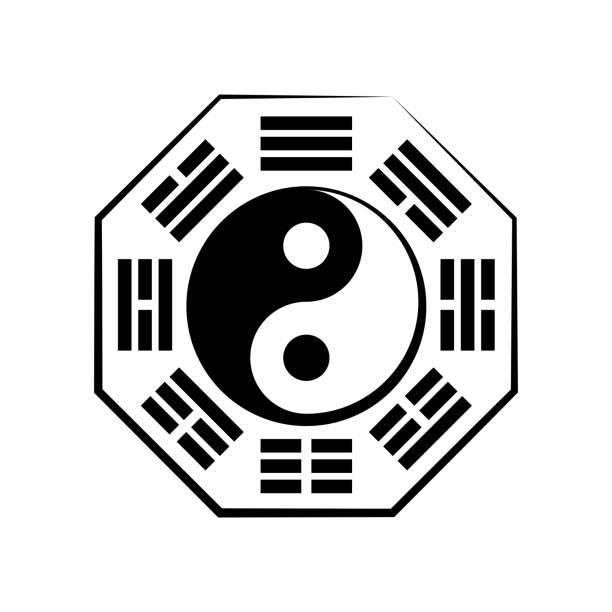 ilustraciones, imágenes clip art, dibujos animados e iconos de stock de yin-yang y bā guà (8 trigramas). el chino símbolo cósmico de la dualidad y la unidad de los contrarios, rodeado de jeroglíficos de los ocho elementos esenciales de la naturaleza. el principio universal de armonía. - yin yang symbol