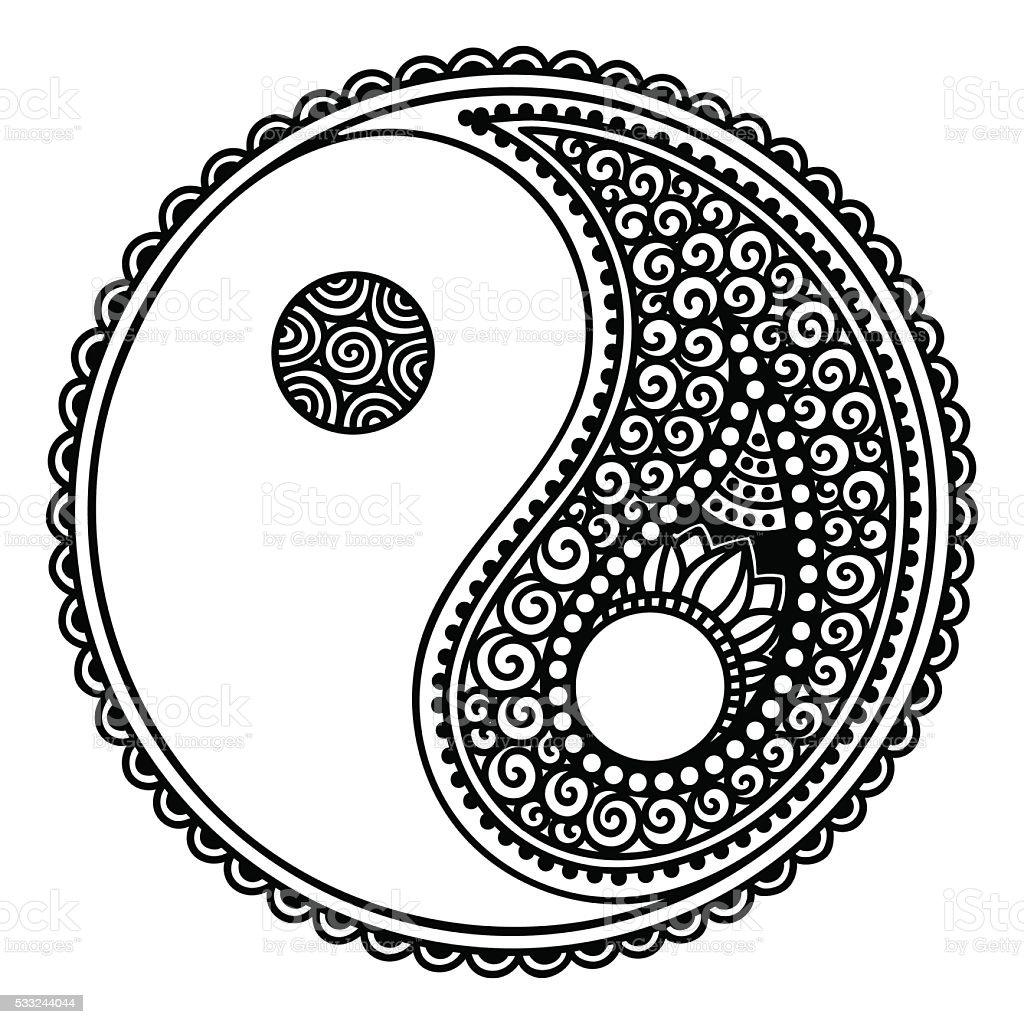 yinyang decorative symbol hand drawn vintage style design element rh istockphoto com Mandala Yin Yang Tumblr Yin Yang Mandalas to Color