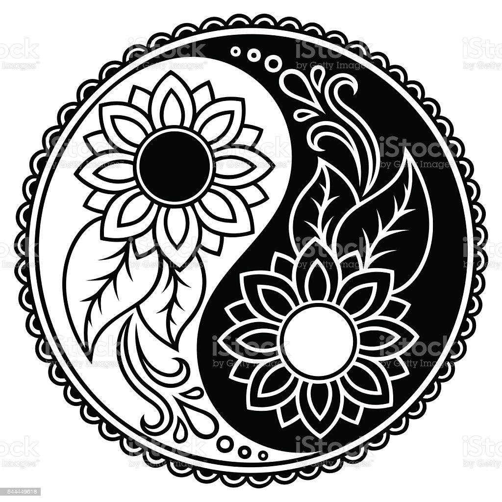 Yin-yang decorative symbol. Hand drawn vintage style design element. vector art illustration