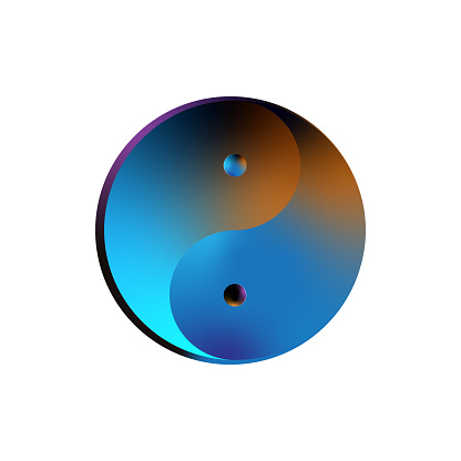 Yin-Yang multicolour in white background, Vector illustration, Yin and Yang symbol of harmony and balance