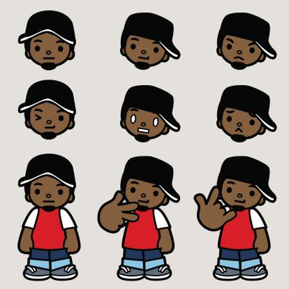 Yo! Cool Hip Hop Man Emoticon, Making Hand Gestures