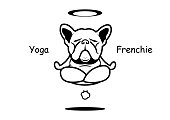 The French bulldog yoga professor shows off his force of nature and then he can fly with his fart! This art can use for sticker mascot or any you want