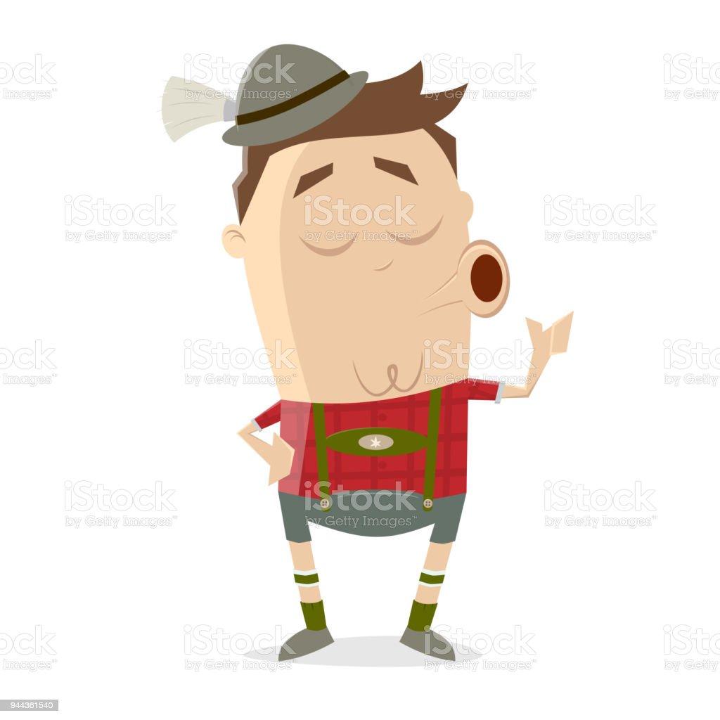 yodeling bavarian man clipart vector art illustration