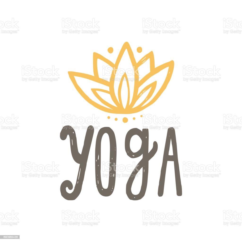 Yoga y lotus. - ilustración de arte vectorial