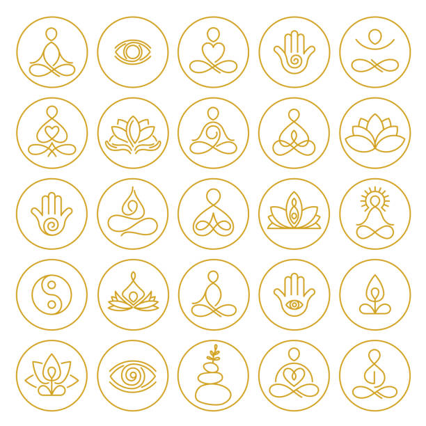 Yoga and Meditation Icons Yoga and Meditation Icons in hand drawn outline style meditation stock illustrations