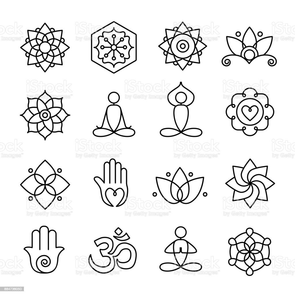 Yoga and Meditation Icons vector art illustration