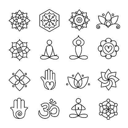 Yoga Och Meditation Ikoner-vektorgrafik och fler bilder på Aktivitet