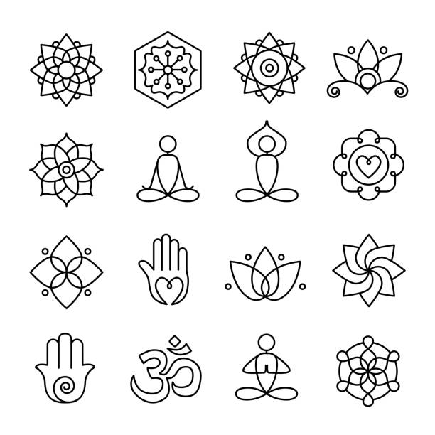 yoga and meditation icons - yoga stock illustrations, clip art, cartoons, & icons