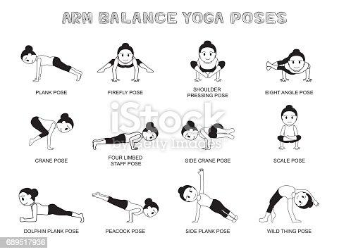 Yoga Arm Balance Poses Vector Illustration Monochrome