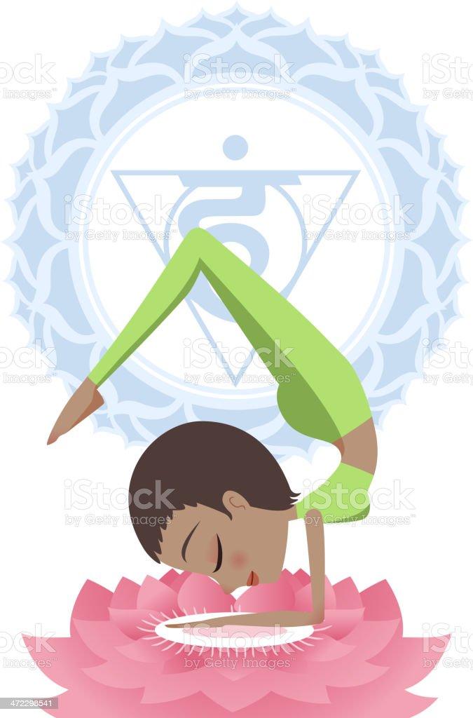 Yoga Asana Practice Meditating Posture With Om Symbol in Mandala royalty-free stock vector art