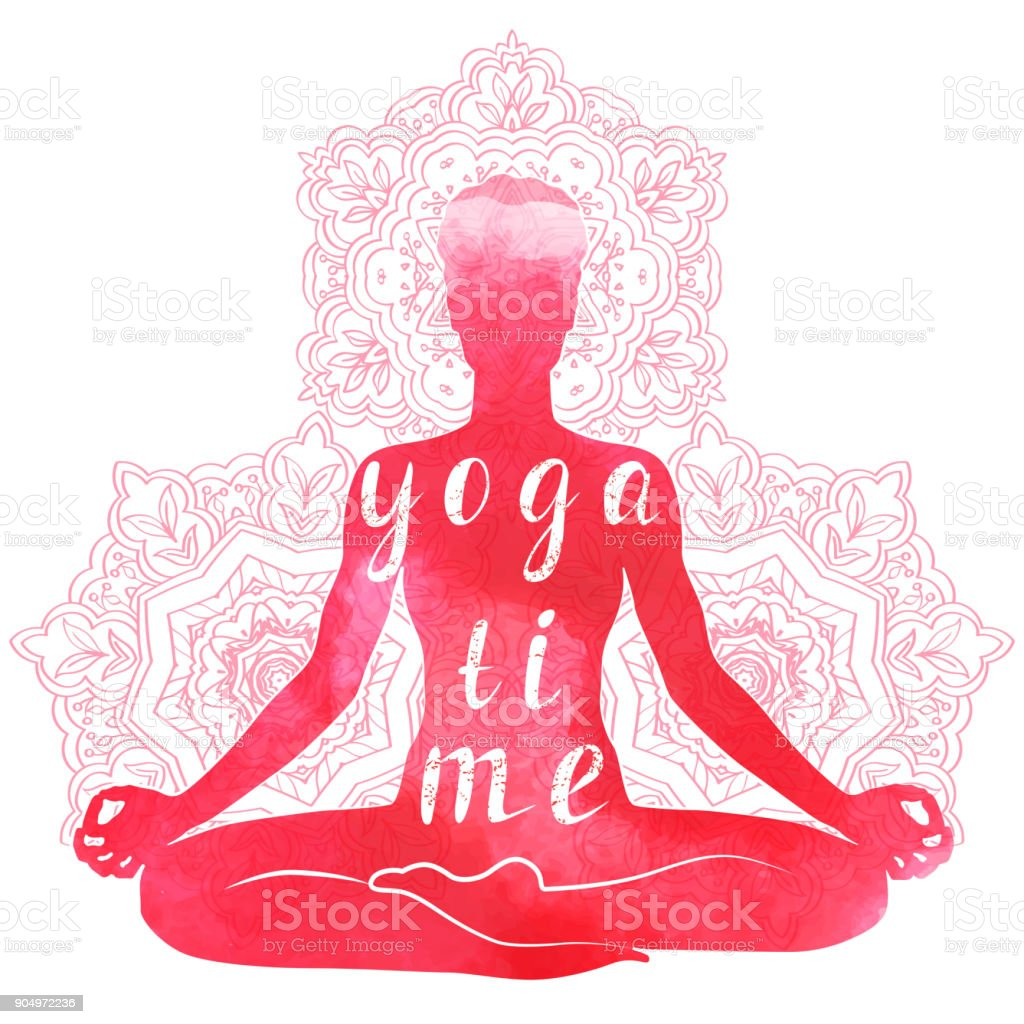 Yoga asana, relaxation and meditation. Watercolor Silhouette vector art illustration