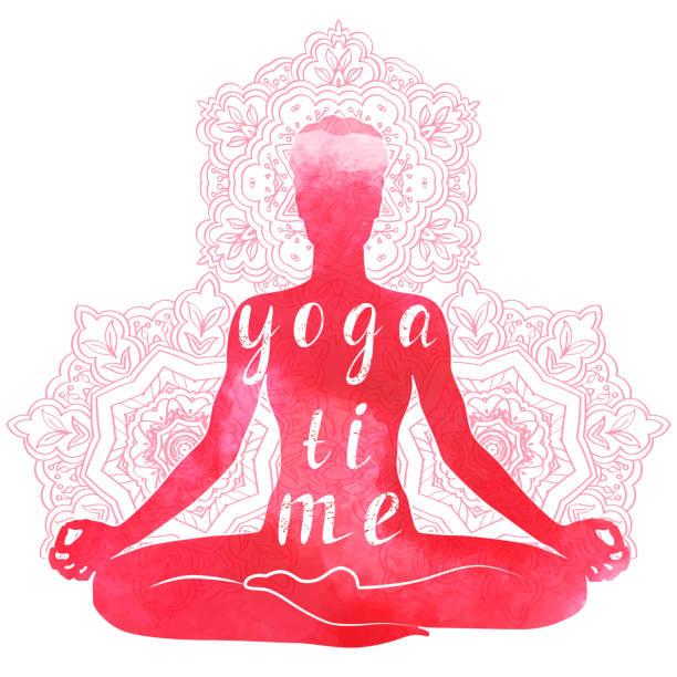 bildbanksillustrationer, clip art samt tecknat material och ikoner med yoga asana, avslappning och meditation. akvarell siluett - korslagda ben